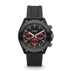 Retro Traveler Chronograph Silicone Watch - Black